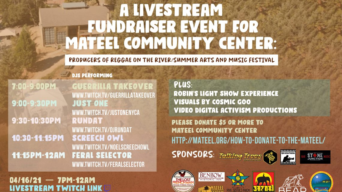 Sky Talk It Productions Presents: A Livestream Fundraiser 4/16 For Mateel Community Center