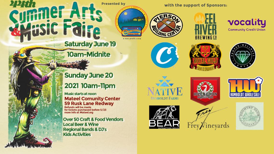 44th Summer Arts Faire June 19-20 2021 at Mateel Community Center