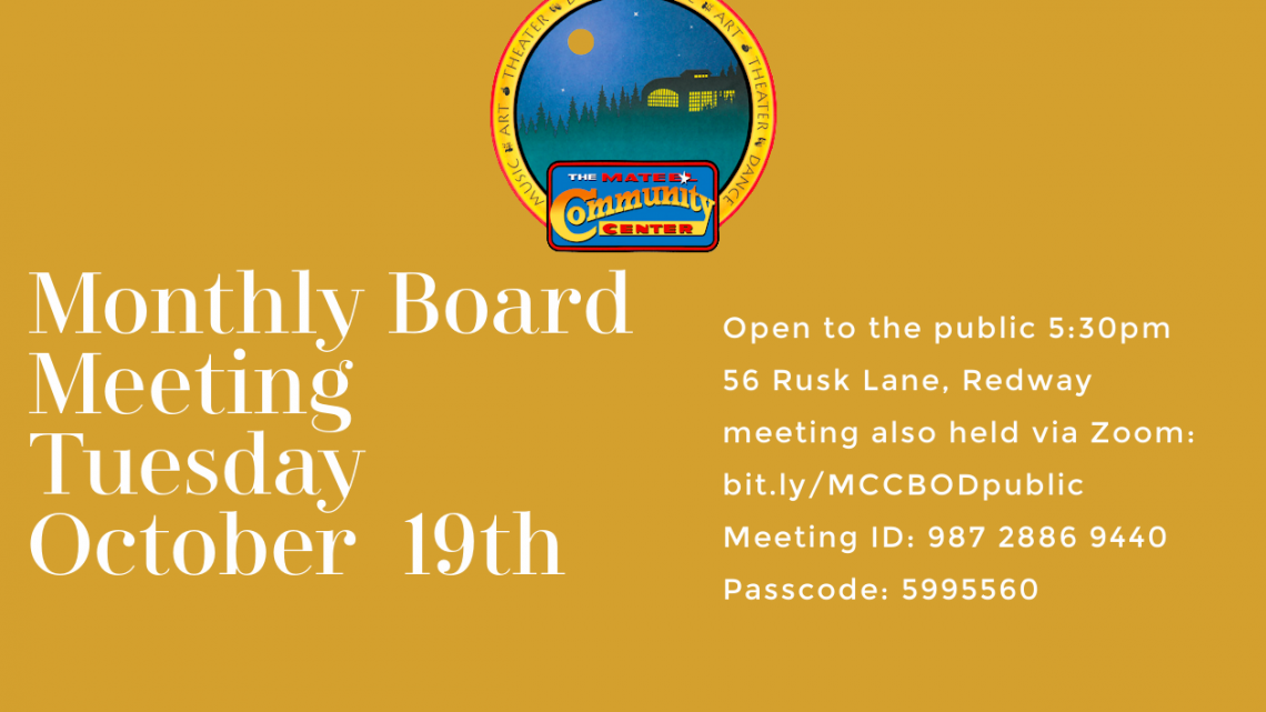 Mateel Board of Directors meeting Tuesday, October 19th